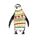 Cute penguin with sweater by Carmen de Bruijn