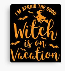 Halloween Shirt Good Witch On Vacation Gift Tee Canvas Print