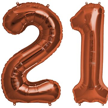 Copper 21st Birthday Metallic Helium Balloons Numbers by Birthdates