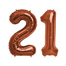 Copper 21st Birthday Metallic Helium Balloons Numbers by Birthdates