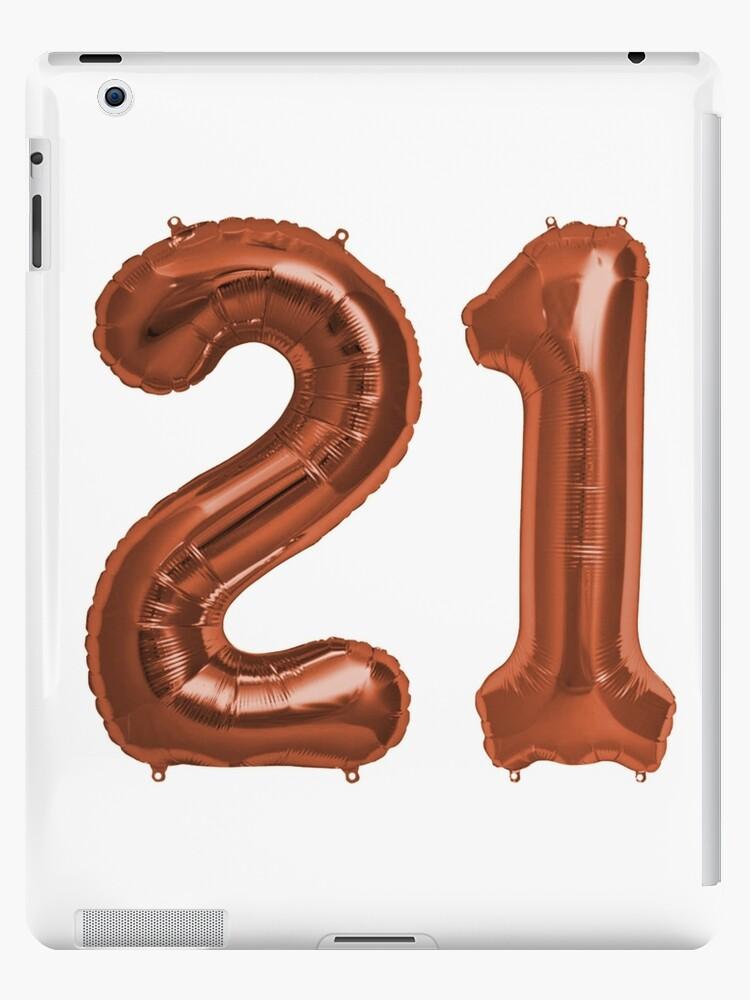 Copper 21st Birthday Metallic Helium Balloons Numbers