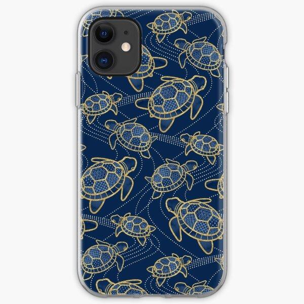 Japanese Pond Turtle / Dark Blue iPhone Soft Case