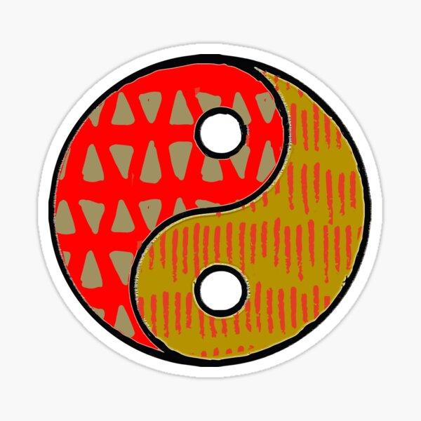 Earthy Patterned Yin Yang Symbolic Art Sticker