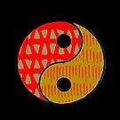 Earthy Patterned Yin Yang Symbolic Art by GrimalkinStudio