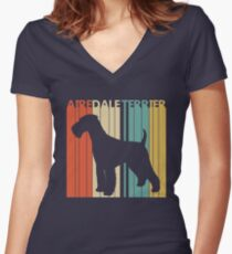 Vintage Retro Airedale Terrier Dog Women's Fitted V-Neck T-Shirt