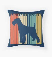Vintage Retro Airedale Terrier Dog Throw Pillow