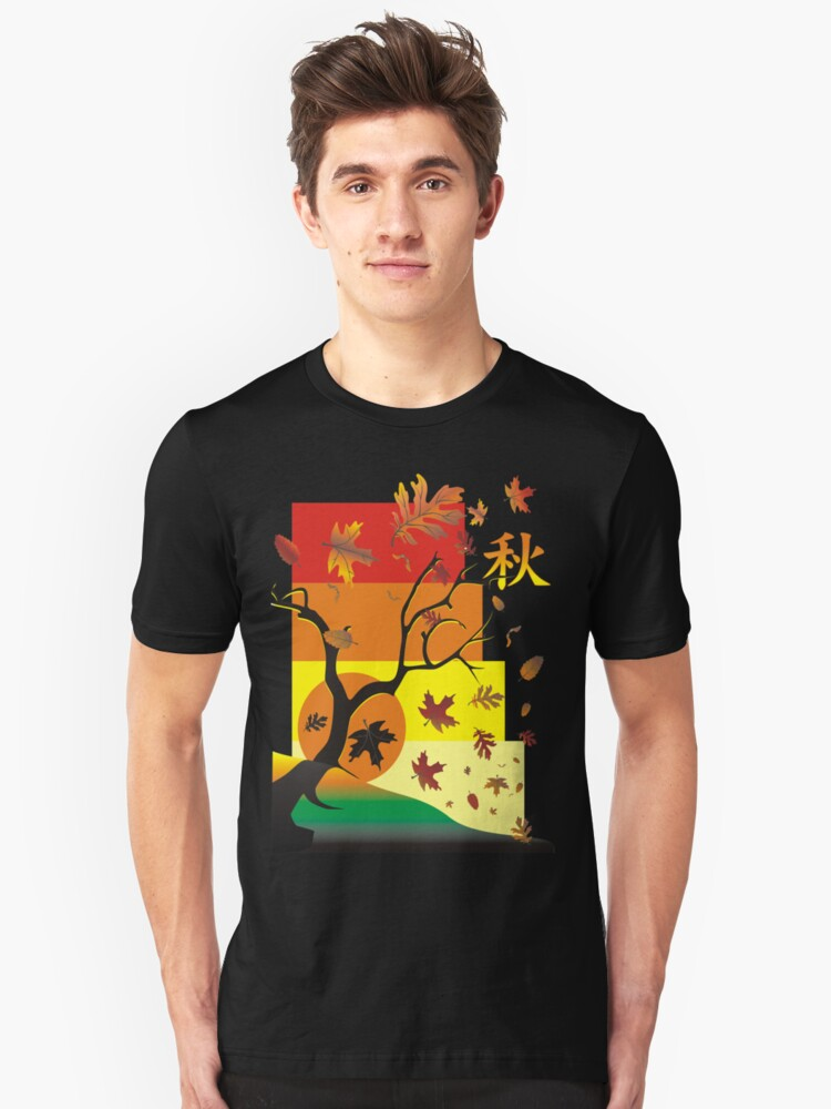 Fall - Autumn Scene with Chinese  Unisex T-Shirt Front