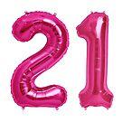 Hot Pink 21st Birthday Metallic Helium Balloons Numbers by Birthdates