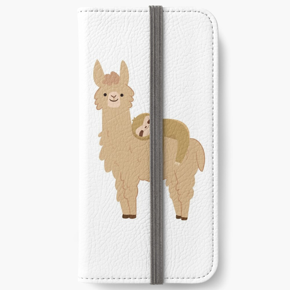 Adorable Sloth Relaxing on a Llama iPhone Wallet