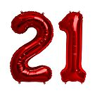 Red 21st Birthday Metallic Helium Balloons Numbers by Birthdates
