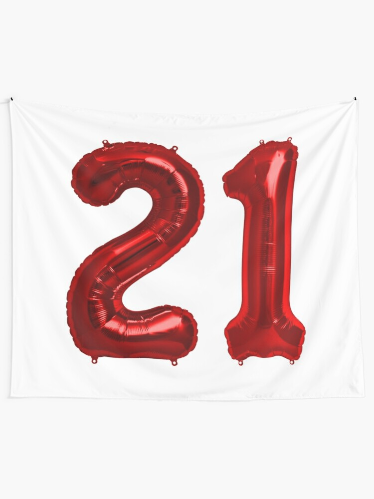 Red 21st Birthday Metallic Helium Balloons Numbers Wall Tapestry