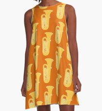 MUSICAL INSTRUMENTS SILHOUETTES - TUBA A-Line Dress