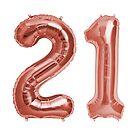Rose Gold 21st Birthday Metallic Helium Balloons Numbers by Birthdates