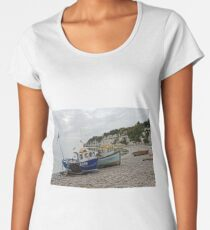Beached Fishing Boats At Beer Women's Premium T-Shirt