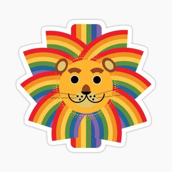 Rainbow maned lion Sticker