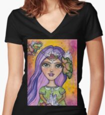 Crystals in the Light Women's Fitted V-Neck T-Shirt