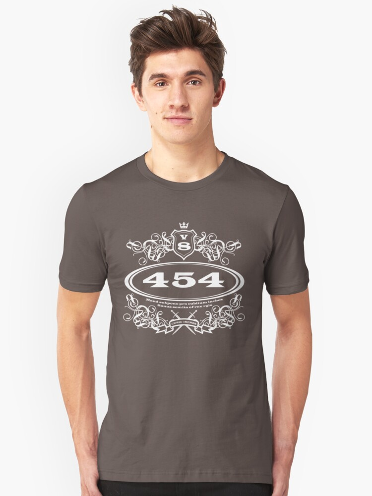 454 Cubic Inches... for the revhead intelligensia... Unisex T-Shirt Front