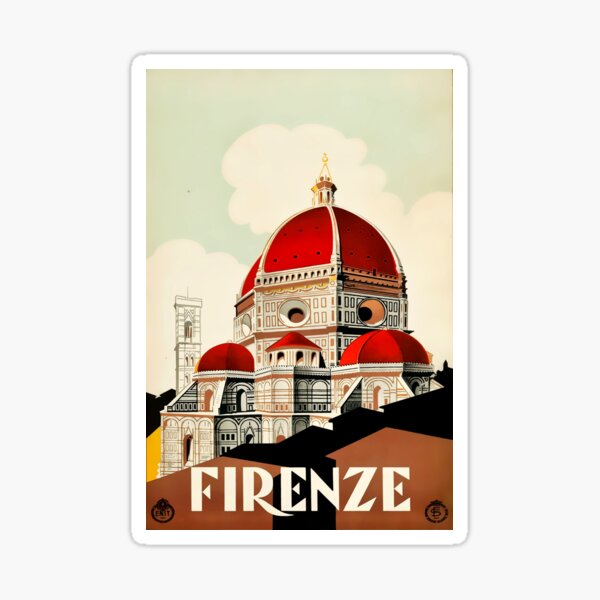 Florence, Italy Travel Poster 1930s Firenze Sticker