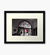 Red Shirt in an Arched Window Framed Print