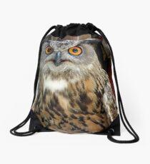 Orange Eyed Owl Drawstring Bag