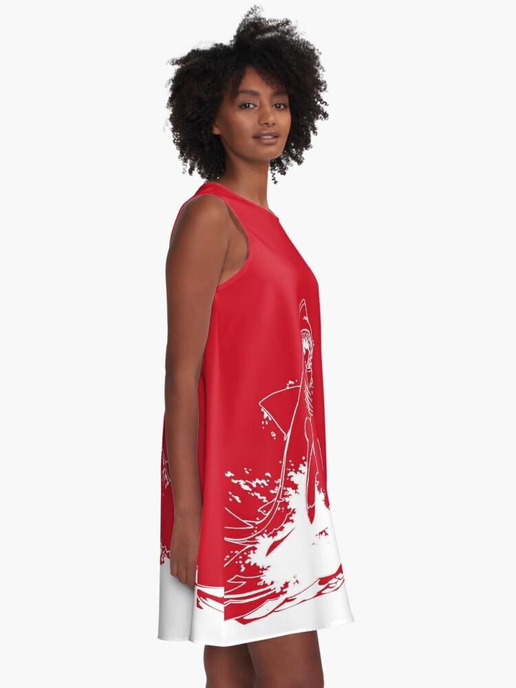 Alternative Ansicht von Landshark Springen | Rebel Rot A-Linien Kleid