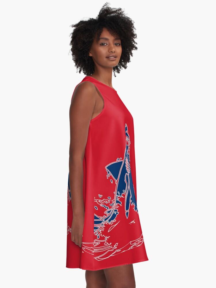 Alternative Ansicht von Landshark Kleid | Rot und Blau A-Linien Kleid