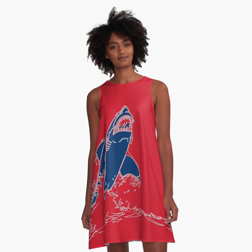Landshark Kleid | Rot und Blau A-Linien Kleid