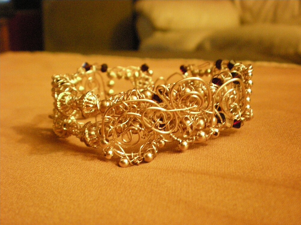 Gold filled wire wrapped bracelet by Sherry Laird