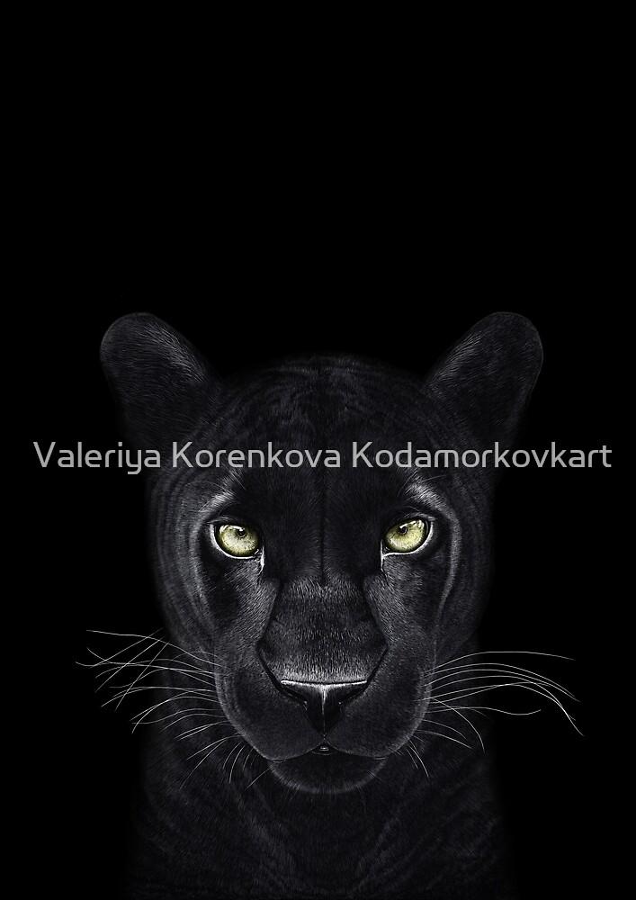 Black panther on black by Valeriya Korenkova Kodamorkovkart