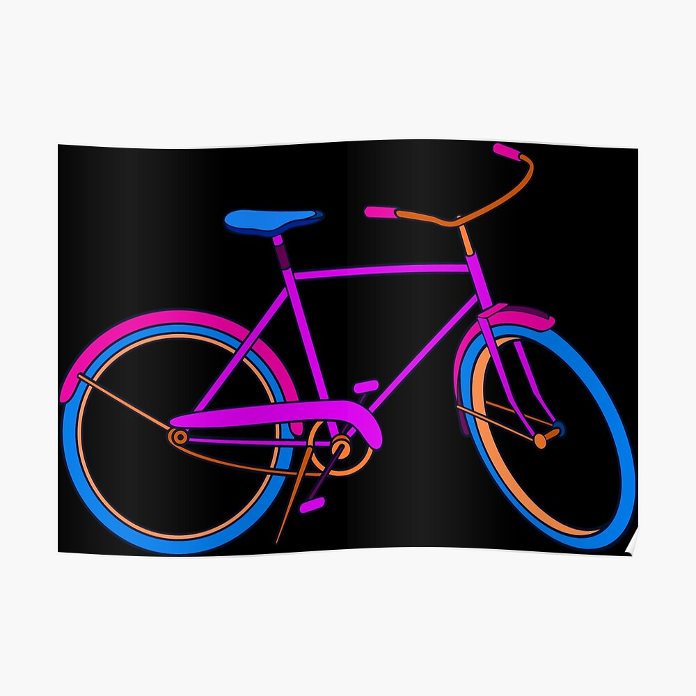 Neon Bike with Blue Pink and Orange Poster