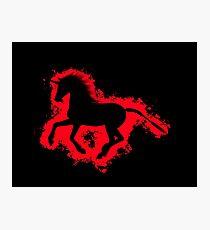 Unicorn fantasy red and black silhouette Photographic Print