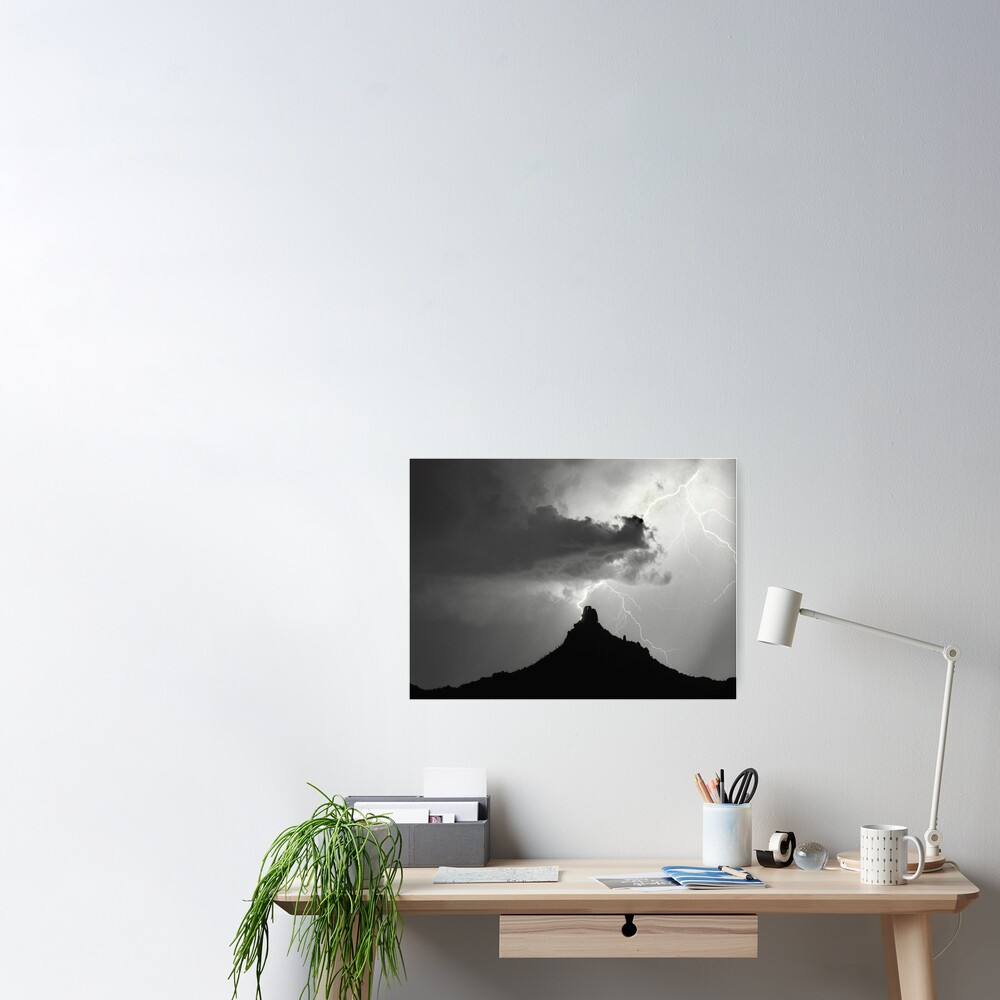 Lightning Striking Pinnacle Peak Poster
