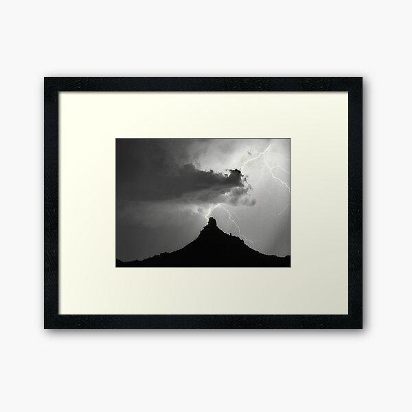 Lightning Striking Pinnacle Peak Framed Art Print