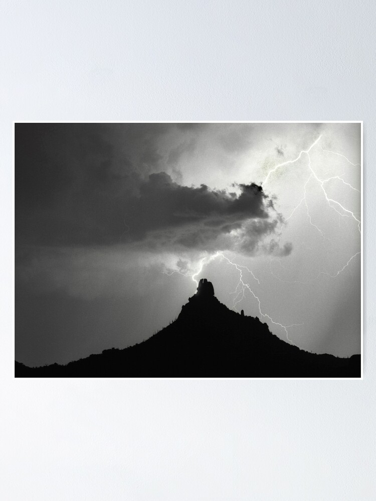 Alternate view of Lightning Striking Pinnacle Peak Poster
