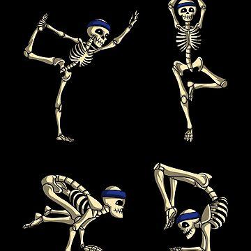 Skeleton Yoga Exercise Poses Funny Halloween Skull by underheaven