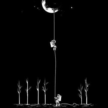 Astronauts on the Moon, Astronaut Moon Art by EarthlyIndigo