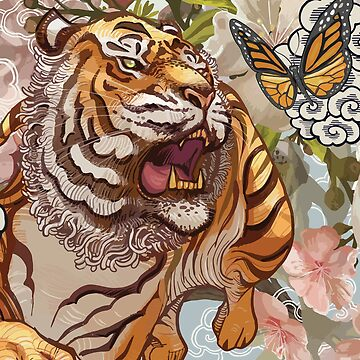 Beautiful Tiger Butterfly Oriental Design by cendav