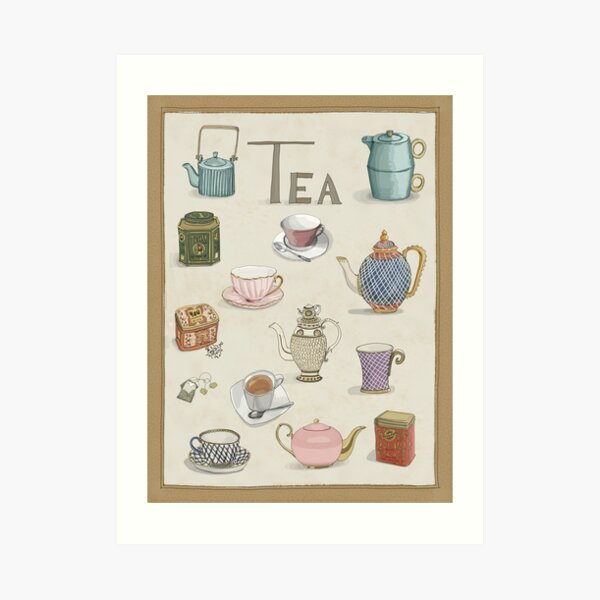 Vintage Teacups and Teapots Art Print