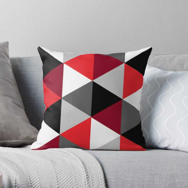 Red, Black, White and Grey Pattern Throw Pillow