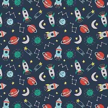 Spaceship Pattern, Constellations, Rocket Ships by EarthlyIndigo
