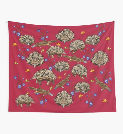 monotremes and wildflowers on cardinal Wall Tapestry