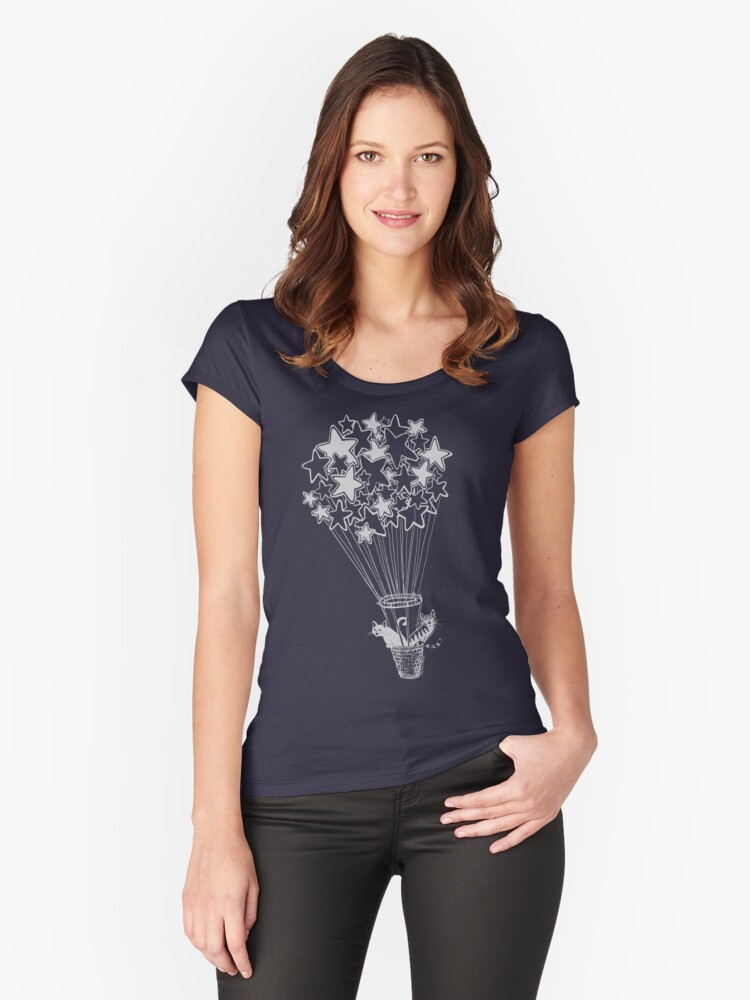 Star Flight With Cats Women's Fitted Scoop T-Shirt Front