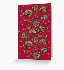 monotremes and wildflowers on cardinal Greeting Card