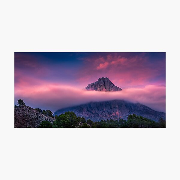 Red Sky and Cloud Layer at Puig Campana Photographic Print