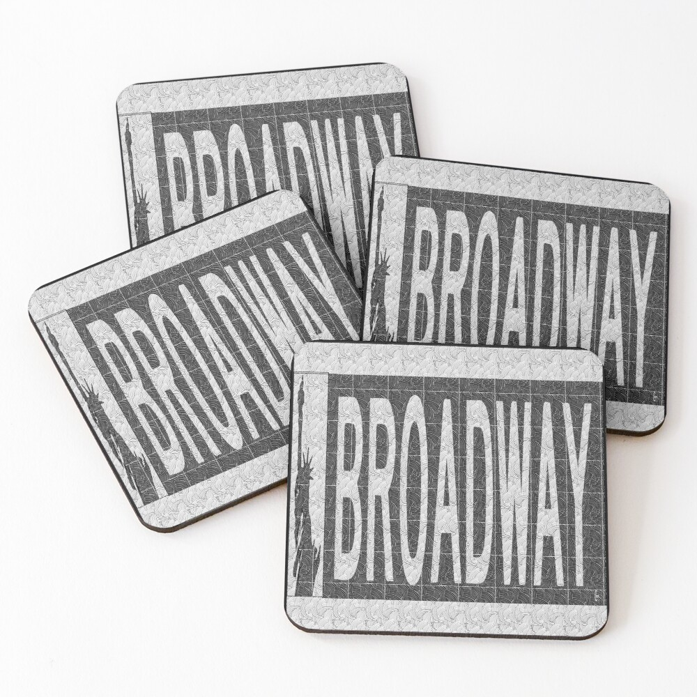 BROADWAY DECO SWING NYC Street Sign  Coasters (Set of 4)