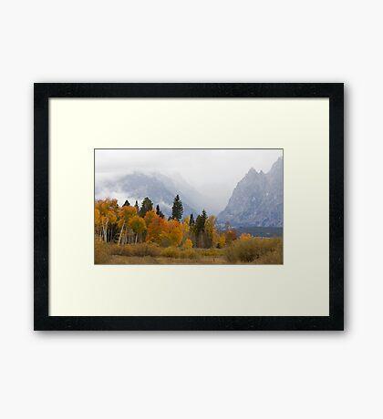 Cascade Canyon, Snow Showers & Fall Color Framed Print