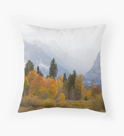 Cascade Canyon, Snow Showers & Fall Color Throw Pillow