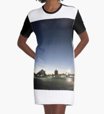 #sunset, #sky, #city, #moon, #water, #dusk, #architecture, #cityscape, #Evening, #Morning Graphic T-Shirt Dress