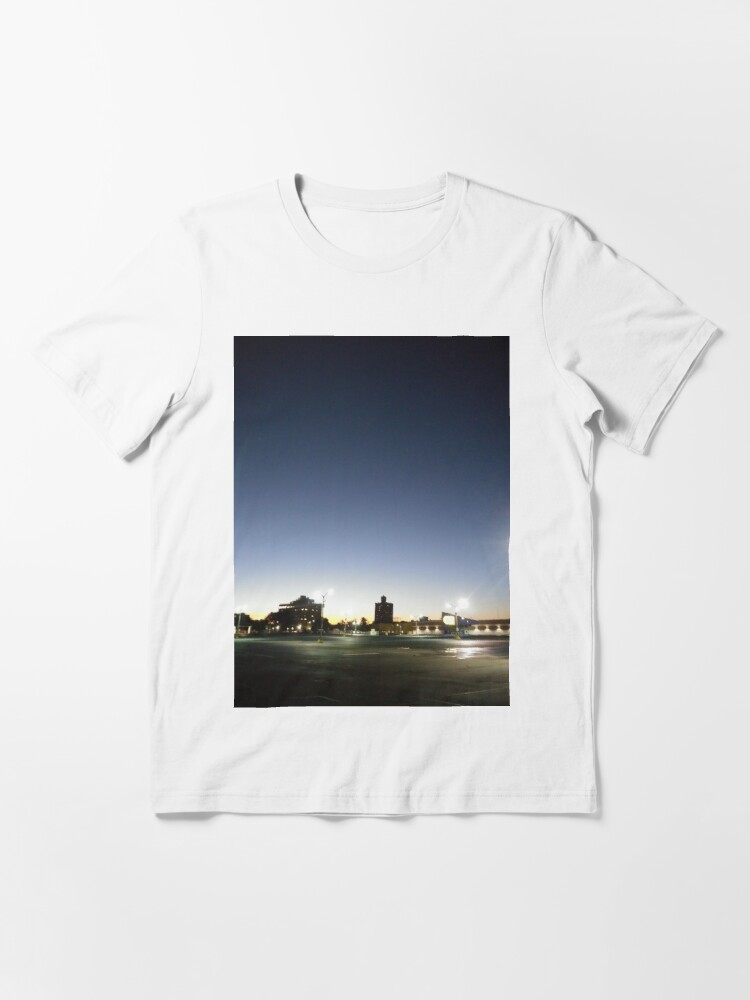 Alternate view of #sunset, #sky, #city, #moon, #water, #dusk, #architecture, #cityscape, #Evening, #Morning Essential T-Shirt