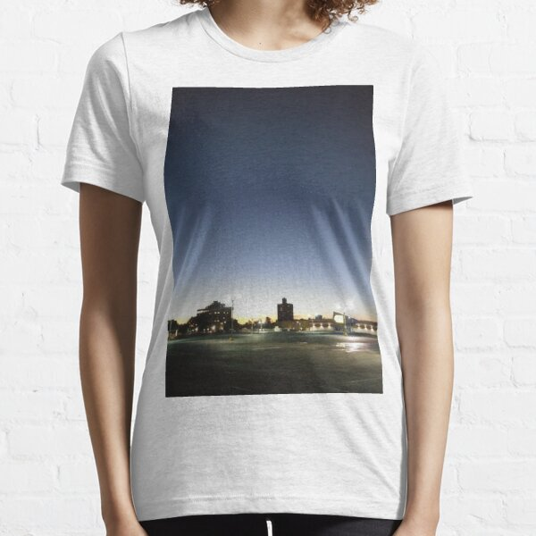 #sunset, #sky, #city, #moon, #water, #dusk, #architecture, #cityscape, #Evening, #Morning Essential T-Shirt